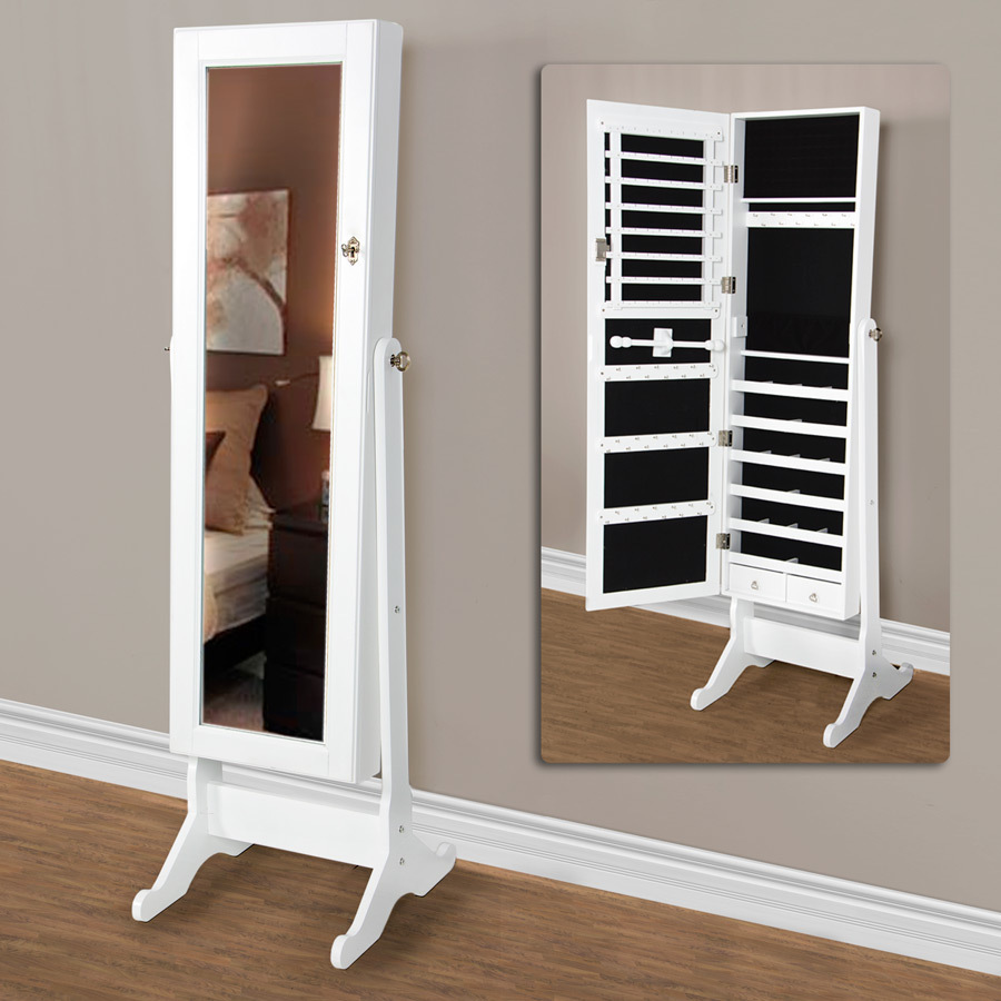 full length mirror jewelry cabinet white