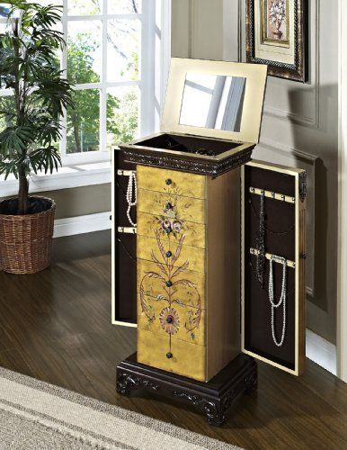 solid wood jewelry armoire chest