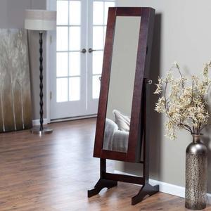 solid wood jewelry armoire locking door swivel stand