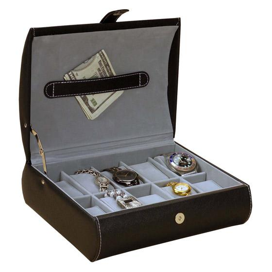 Black Leather jewelry box with watch holder