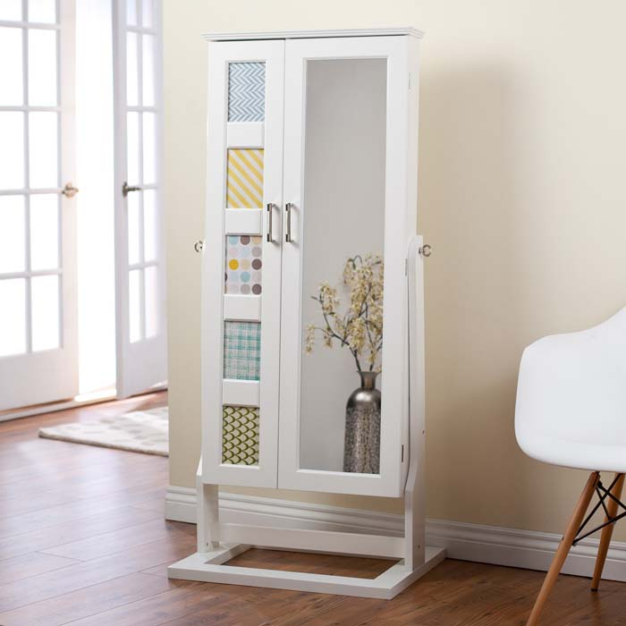 Cheval mirror jewelry armoire white