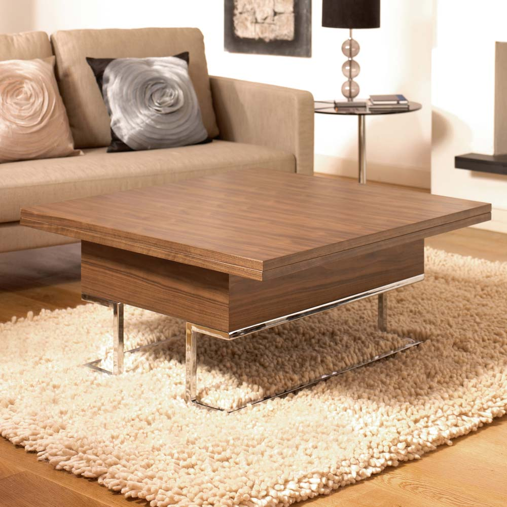 Contemporary walnut coffee table