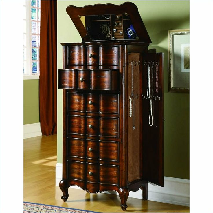 Large jewelry armoire with lock
