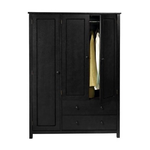 3 door black wardrobe closet