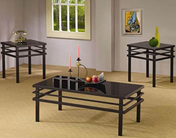 3 piece black coffee table sets