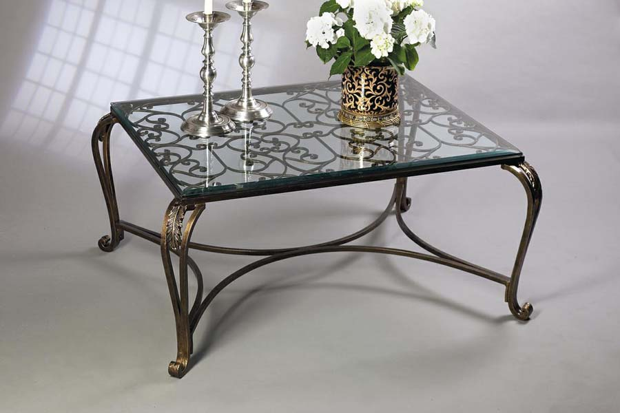 Antique brass glass coffee table