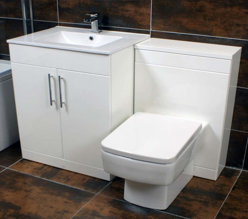 Bathroom vanity units with toilet