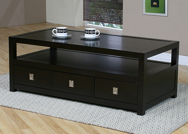 Black coffee table with drawers