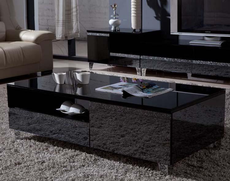 Black mirrored coffee table