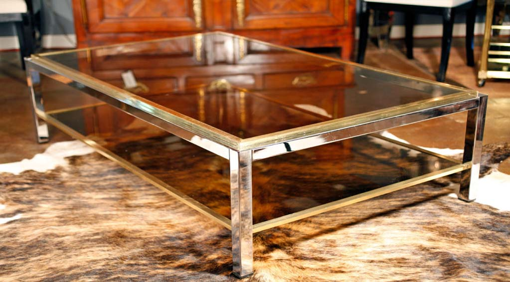 Chrome and glass retro coffee table