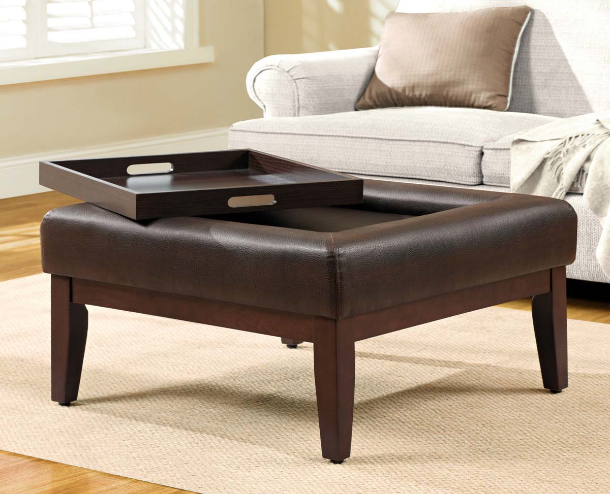 Coffee table tray ottoman