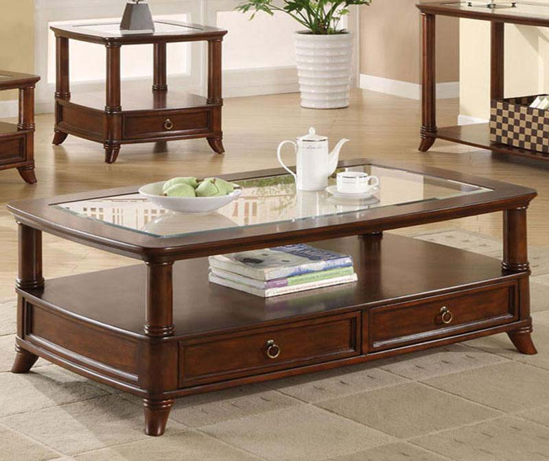 Coffee table with drawers and glass top