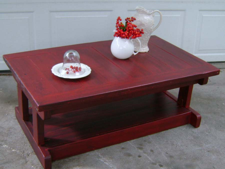 Distressed red coffee table