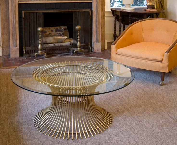 Glass coffee table gold
