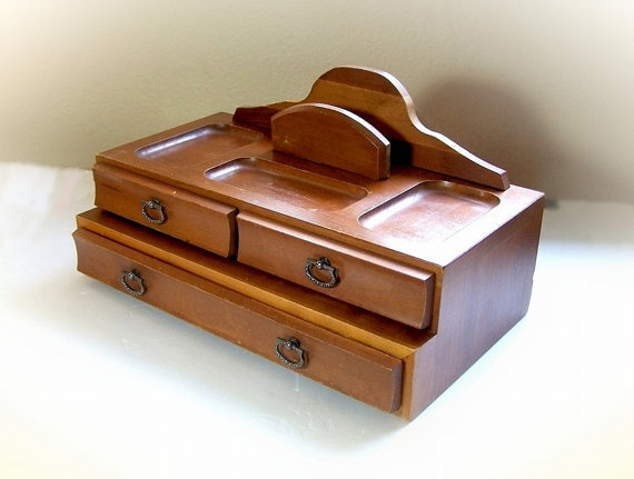 Mens wooden jewelry box valet