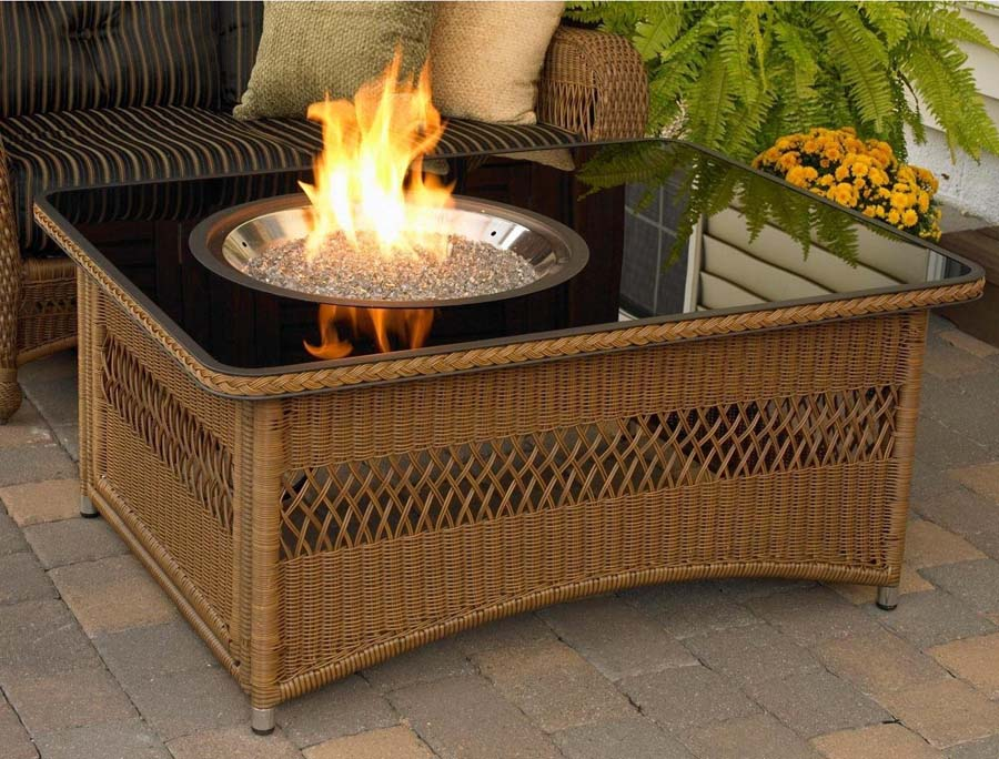 Naples all weather wicker coffee table fire pit