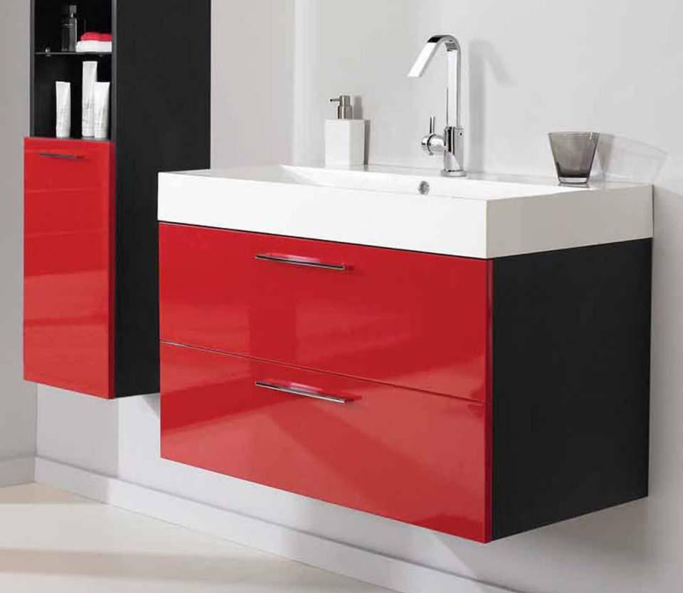Red bathroom vanity units