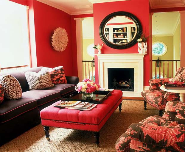 Red coffee table ottoman