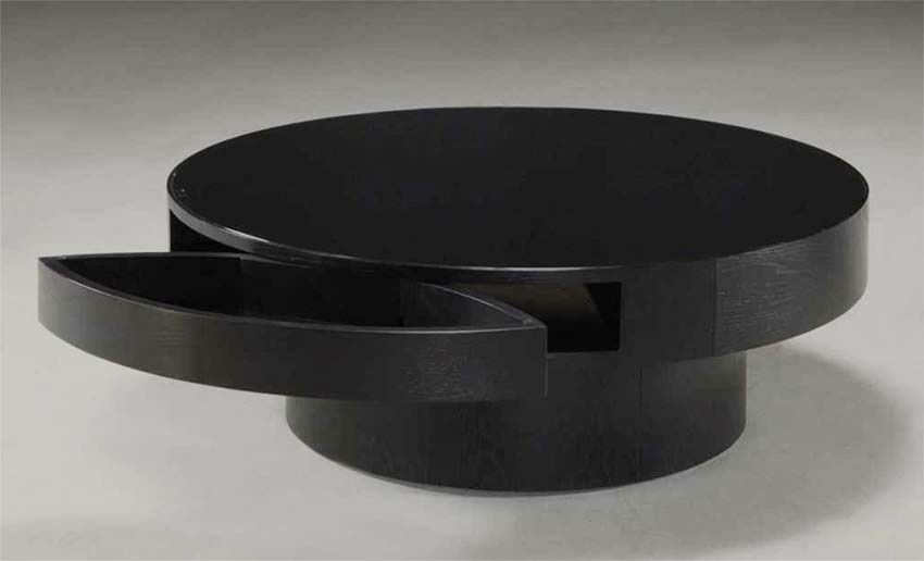 Round black coffee table with storage