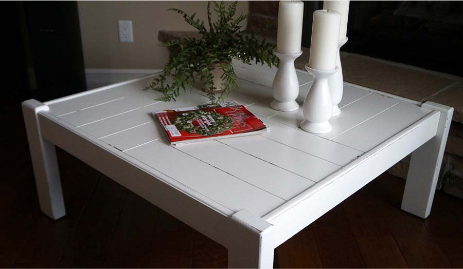 White coffee table and end tables