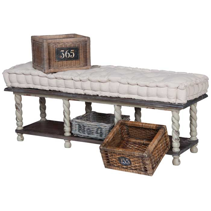 antique black storage bench