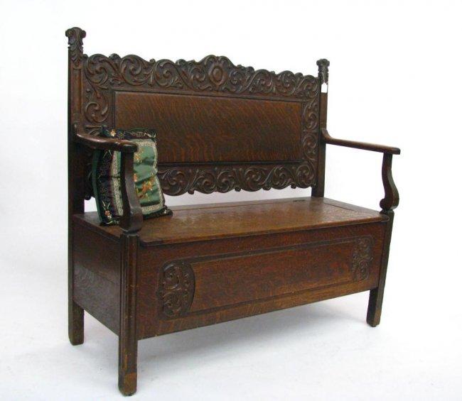 antique entryway storage bench