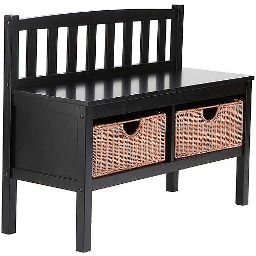 black bench with storage baskets
