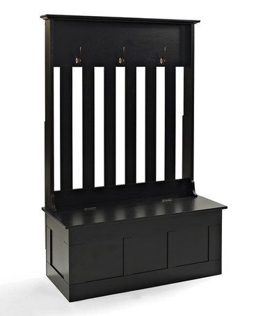 black hall tree with storage bench