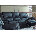 : black leather reclining couch and loveseat