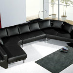 : black wrap around couches