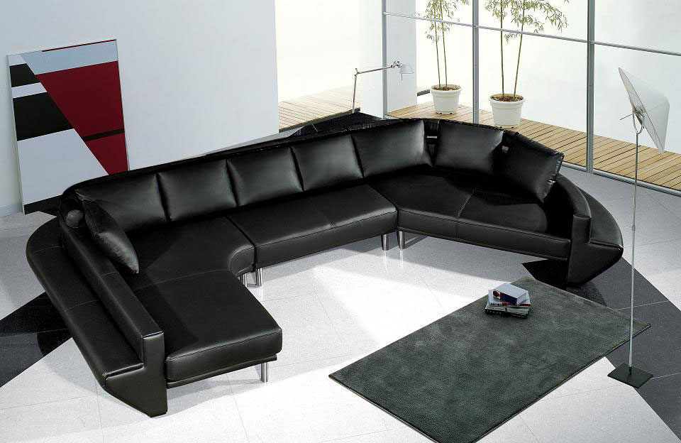 black wrap around couches