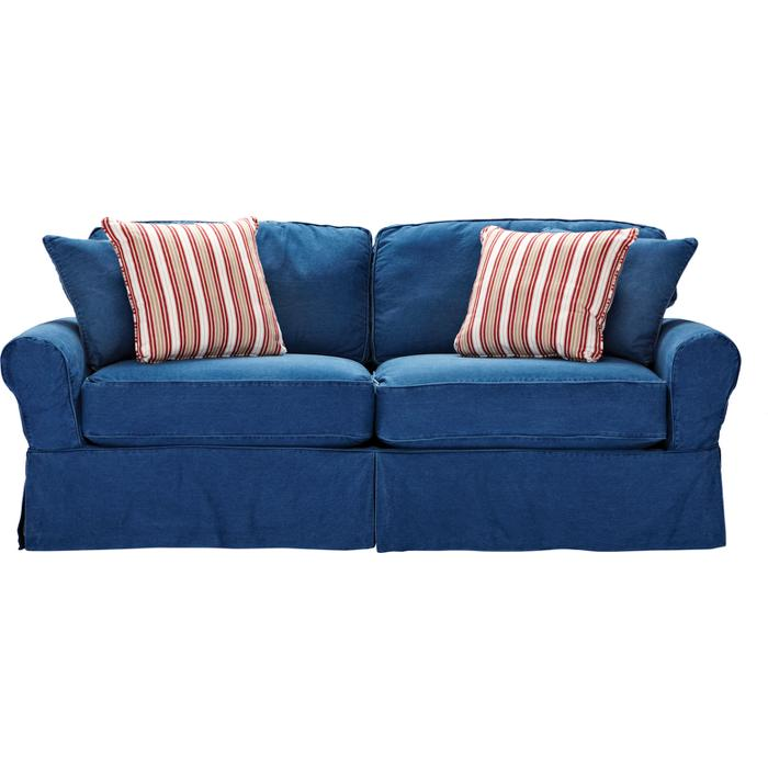 blue denim sofa