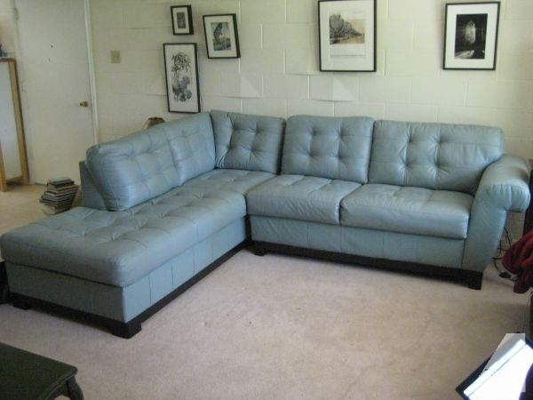Wonderful Photo Gallery Of The Light Blue Leather Loveseat