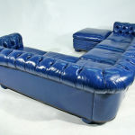 : bright blue leather chesterfield sectional sofa