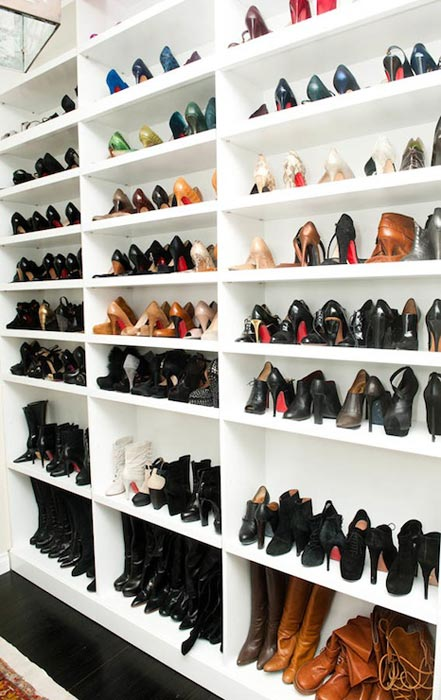 built in shoe shelves for closets
