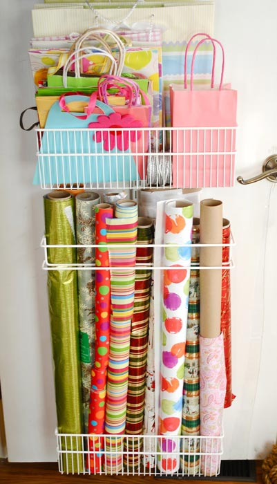 closet door wrapping paper organizer