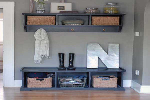 coaster entryway bench with storage baskets and cushions