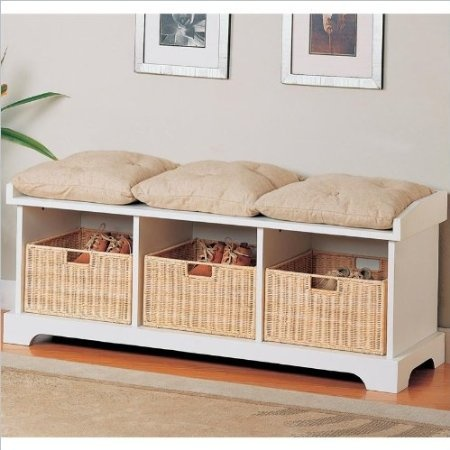 coaster storage bench with baskets and cushions white