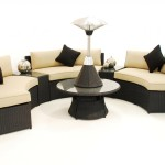 : curved rattan sofa set