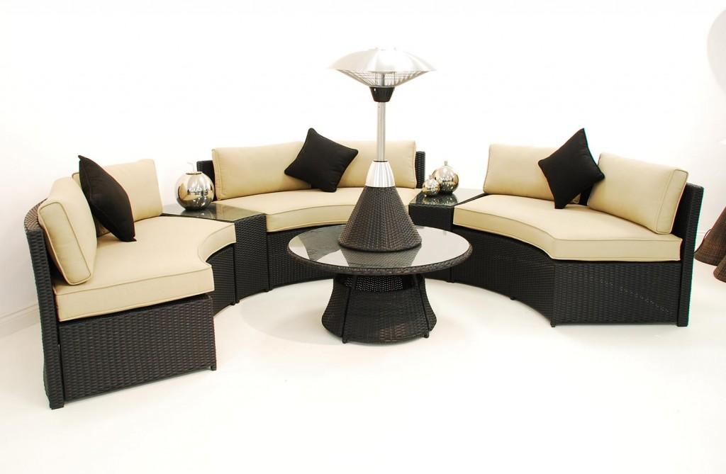 Curved Rattan Sofa Set