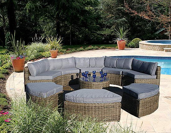 Curved Wicker Couch