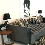 : deep sofa with velvet in smoke