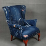 : denim sofa and chair