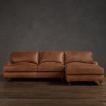 : distressed leather sofa with chaise