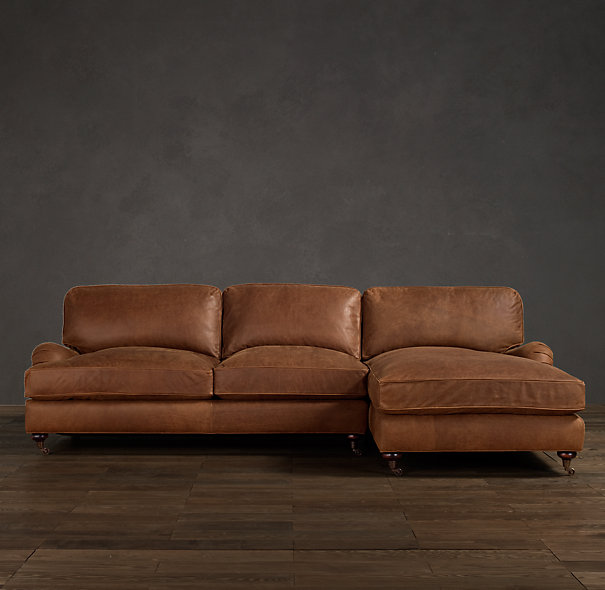 Distressed Leather Sofa With Chaise