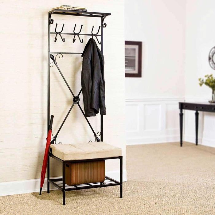 entryway bench storage rack