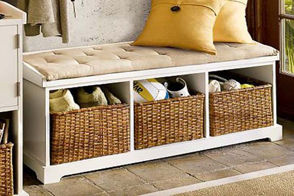 entryway bench with storage baskets & cushions