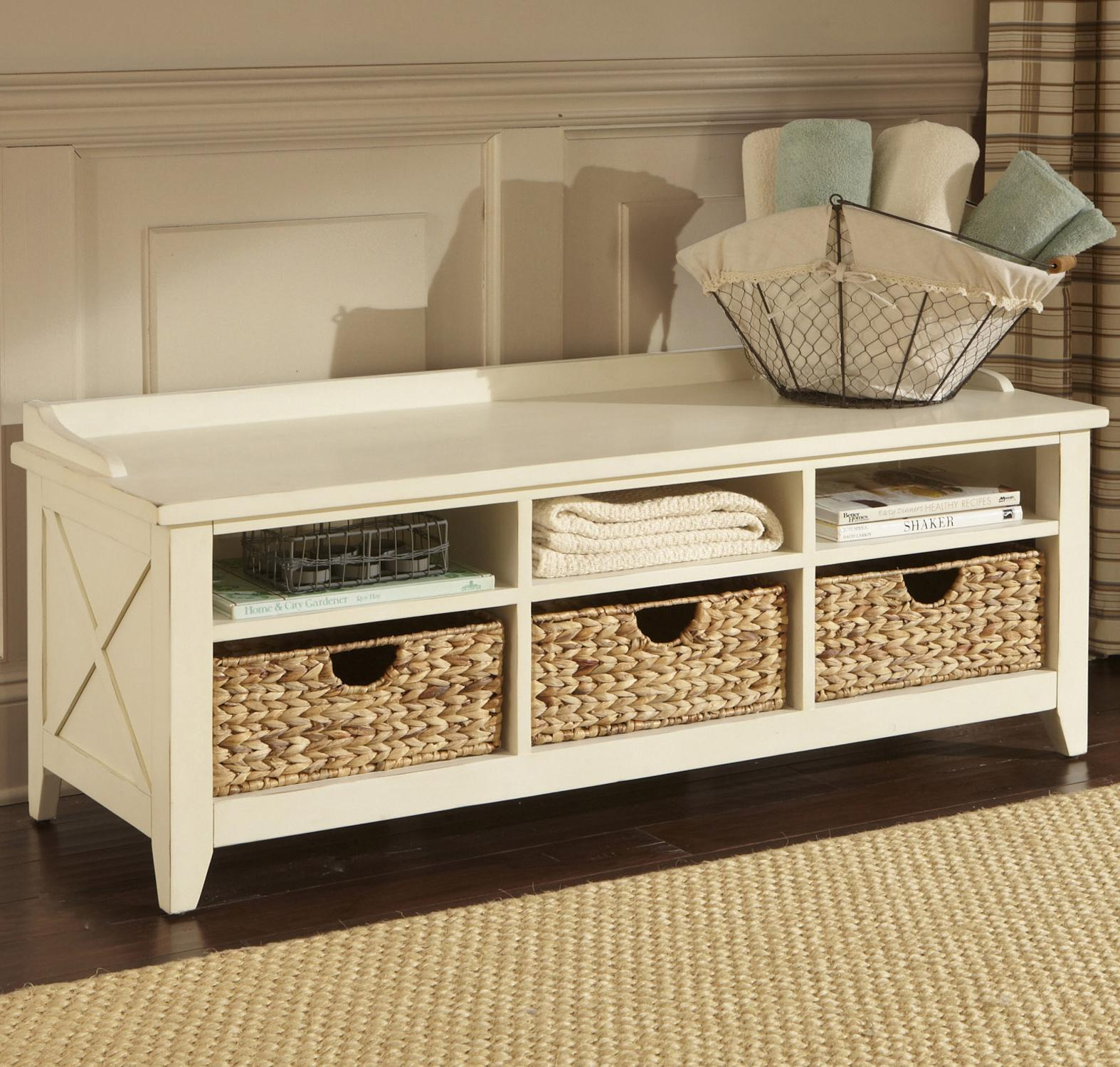 entryway storage bench with drawers & cubbies