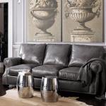 : gray leather sofa on sale