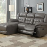 : grey leather reclining couch